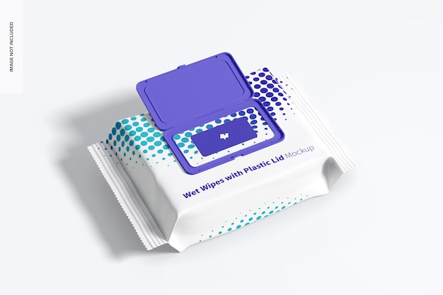 プラスチック製の蓋のモックアップを備えたウェットワイプ大型パッケージ、上面図