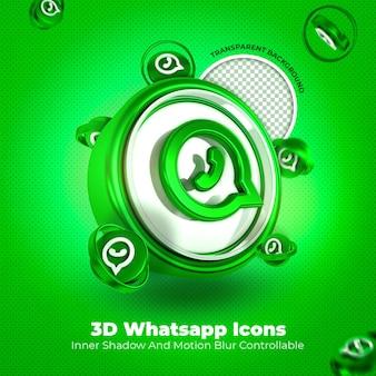 Whatsapp 3d 아이콘 소셜 미디어 투명 배경