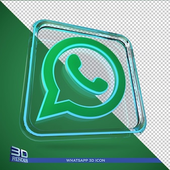 Whatsapp 3d rendering icon isolated,