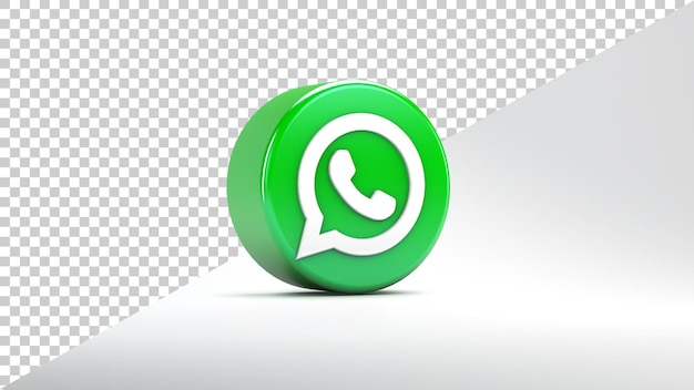 Whatsapp app icon isolated on white background in 3d rendering