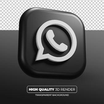 Whatsapp черный значок 3d визуализации изолированные