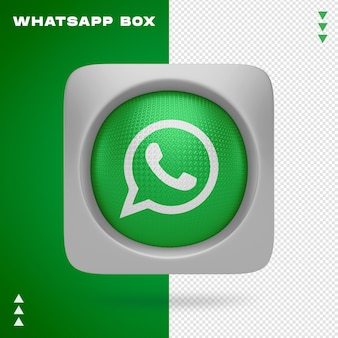 Whatsapp icon in box in 3d rendering isolated