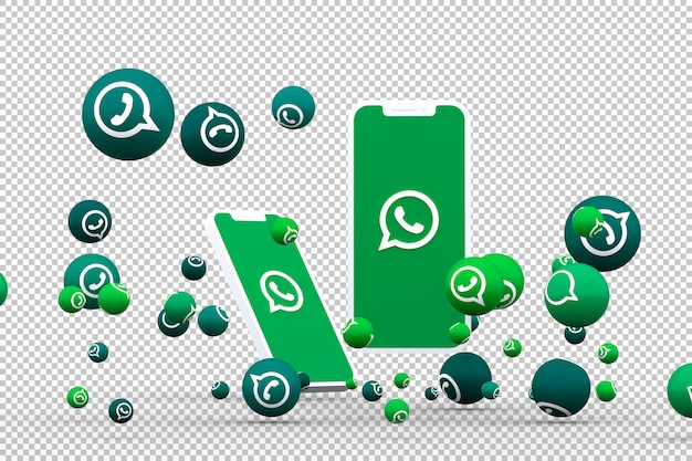 Whatsapp icon on screen smartphone or mobile and whatsapp reactions call with isolated background