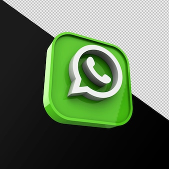 Whatsapp 아이콘, 소셜 미디어 응용 프로그램. 3d 렌더링 premium photo