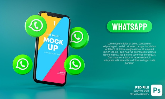 Whatsapp icons around smartphone app mockup 3d