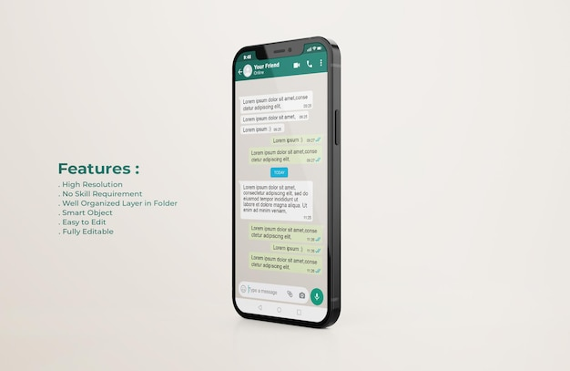 Whatsapp interface template on mobile phone mockup