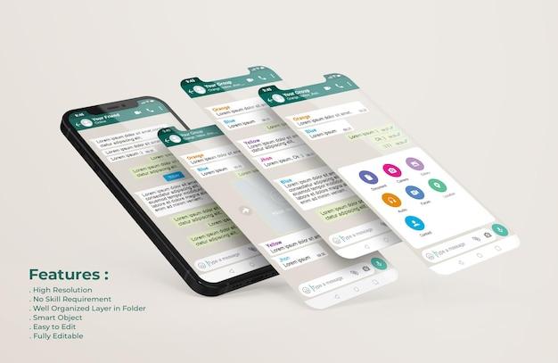 휴대 전화 및 ui ux 앱 프레젠테이션 모형의 whatsapp 인터페이스 템플릿