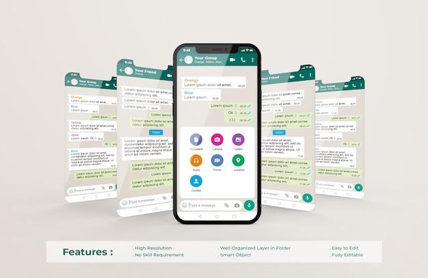 携帯電話のwhatsappインターフェーステンプレートとuiuxアプリプレゼンテーションモックアップ