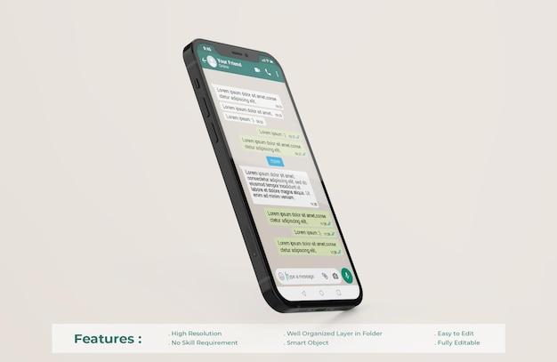 Шаблон интерфейса whatsapp на макете мобильного телефона