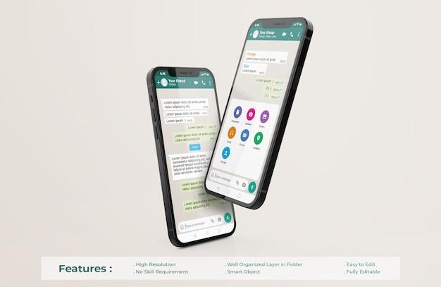 携帯電話のモックアップのwhatsappインターフェーステンプレート