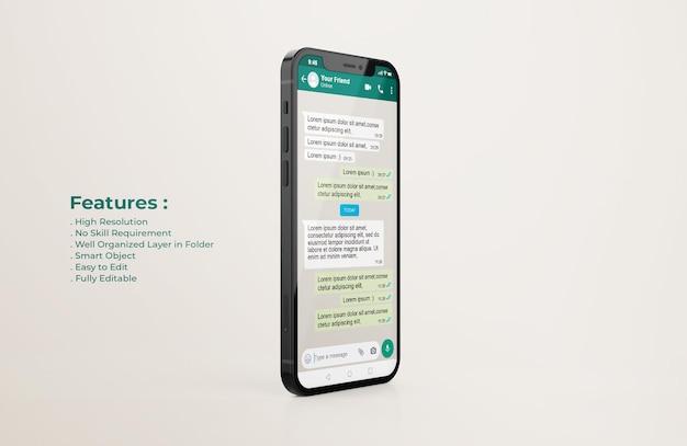 휴대 전화 모형의 whatsapp 인터페이스 템플릿