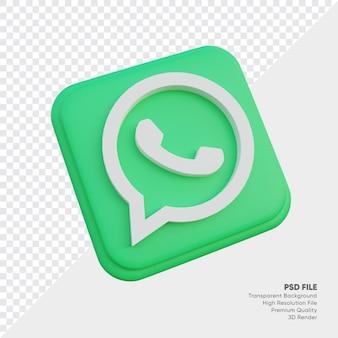 고립 된 둥근 모서리 사각형에 whatsapp 아이소 메트릭 3d 스타일 로고 개념 아이콘