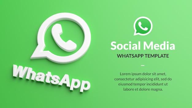 Логотип whatsapp на зеленом фоне для маркетинга в социальных сетях в 3d-рендеринге
