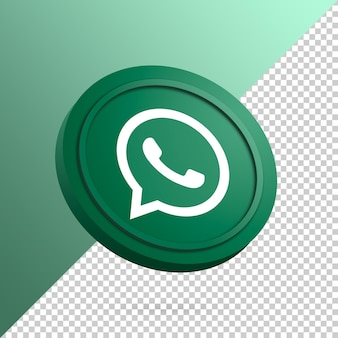 Whatsapp logo on the round button 3d rendering isolated