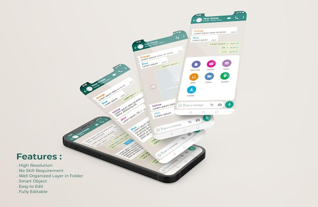 Whatsapp messenger template on mobile phone and ui ux app presentation mockup