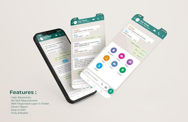 Whatsapp messenger template on mobile phone and ui ux app presentation mockup