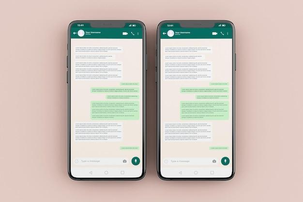 Whatsapp 모바일 인터페이스 모형 템플릿 프리미엄 PSD 파일