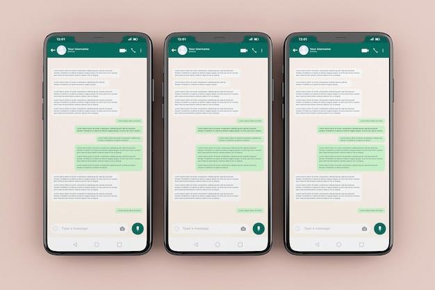 Whatsapp 모바일 인터페이스 모형 템플릿