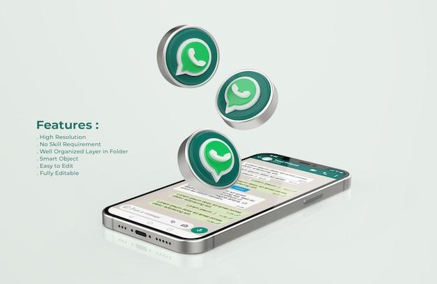 シルバー携帯電話モックアップのwhatsapp