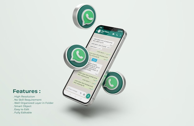 Silver mobile phone mockup의 whatsapp