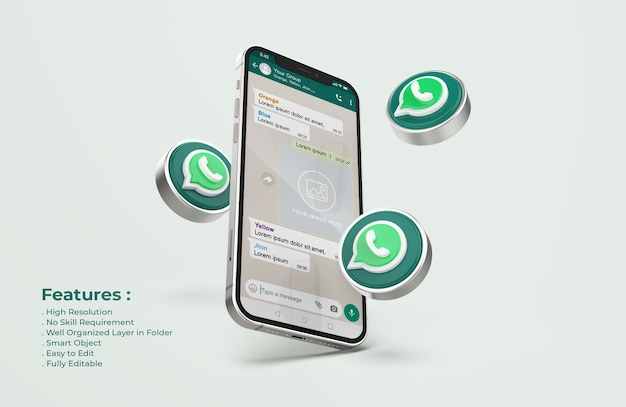Whatsapp on silver mobile phone mockup