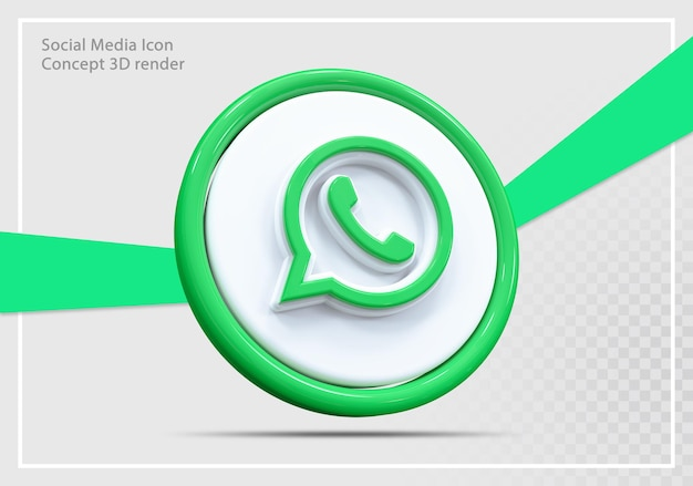 Whatsapp 소셜 미디어 아이콘 3d 렌더링 개념