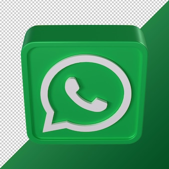 Whatsapp transparent 3d social media logo rounded square shaped
