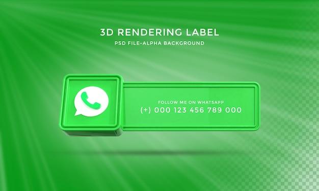 Whatsapp 사용자 이름 3d 렌더링 하단 3분의 1 배너