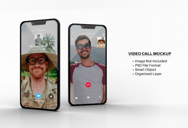 Whatsapp video call mockup on smartphone screen