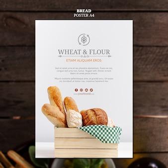 小麦と小麦粉のパンのポスターデザイン