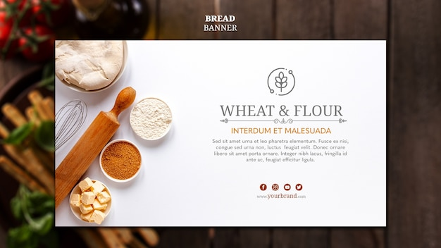 Wheat and flour bread banner template
