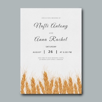 Wheat wedding invitation template with watercolor