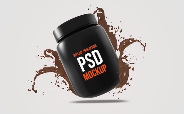Whey bottle mockup 3d rendering design