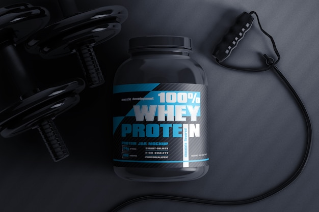 Whey protein jar with dumbbell and jump rope mockup