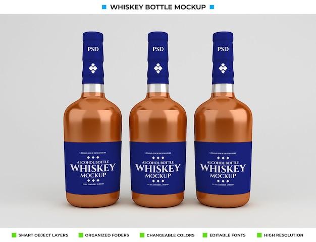 Whiskey bottle mockup design in drink concept