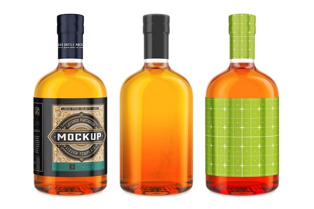 Whiskey glass bottle mockup design in 3d rendering