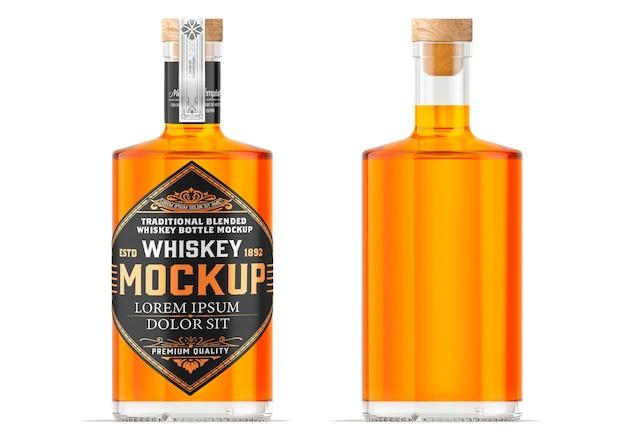 Whiskey glass bottle mockup design isolated