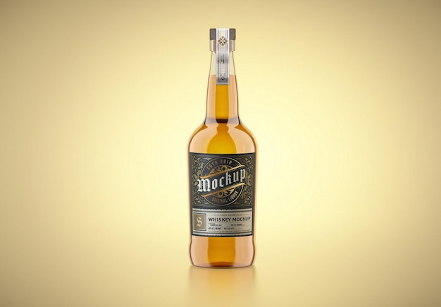 Дизайн мокапа стеклянной бутылки виски