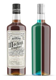 Whiskey glass bottle mockup isolated