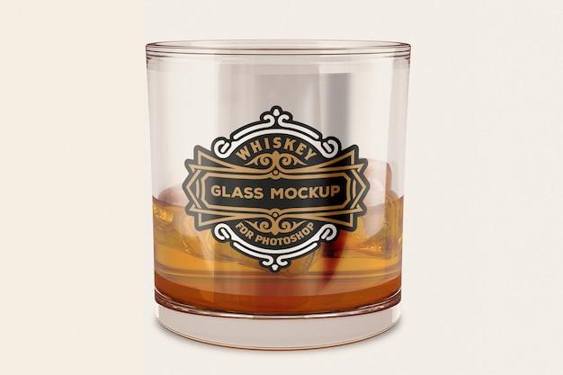 Whisky tumbler glass mockup design in 3d rendering