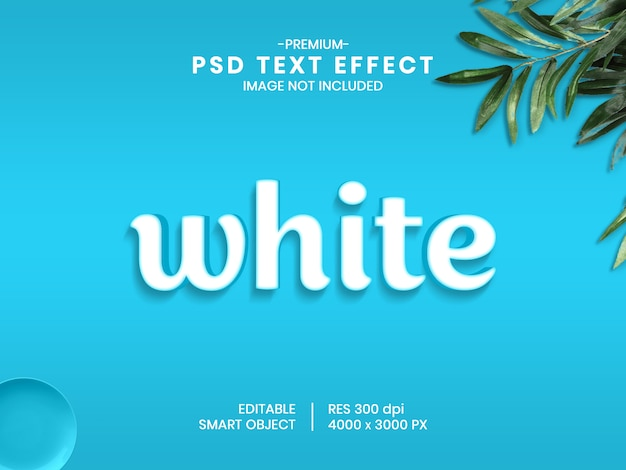White 3d psd text effect style generator