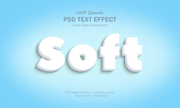 Белый 3d soft text effect