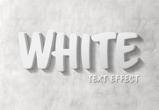 White 3d text effect with shadow mockup
