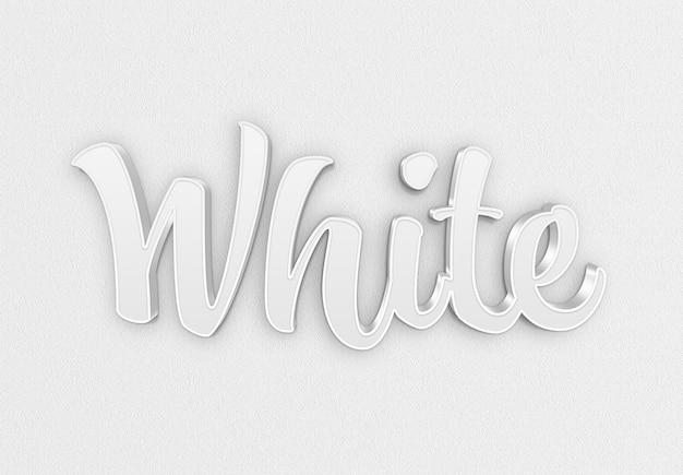 그림자 모형이있는 흰색 3d 텍스트 효과