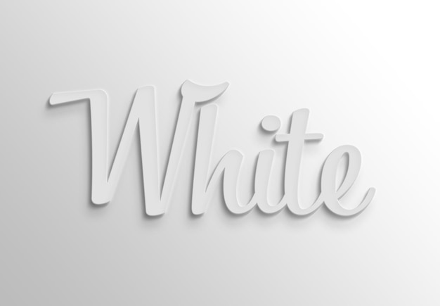그림자가있는 흰색 3d 텍스트 효과