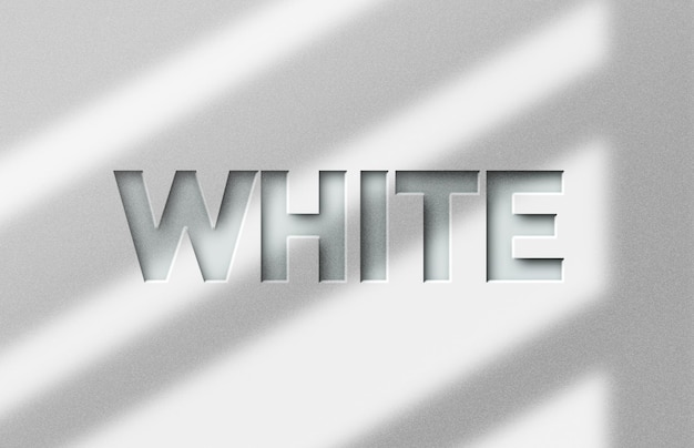 White 3d text style effect template
