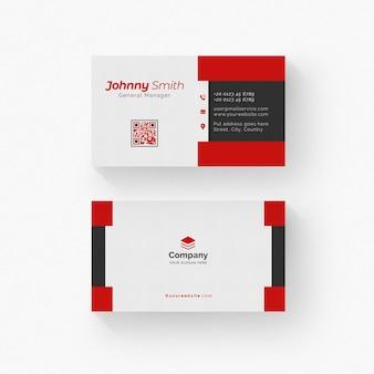 빨간색 세부 사항 가진 흰색과 검은 색 비즈니스 카드