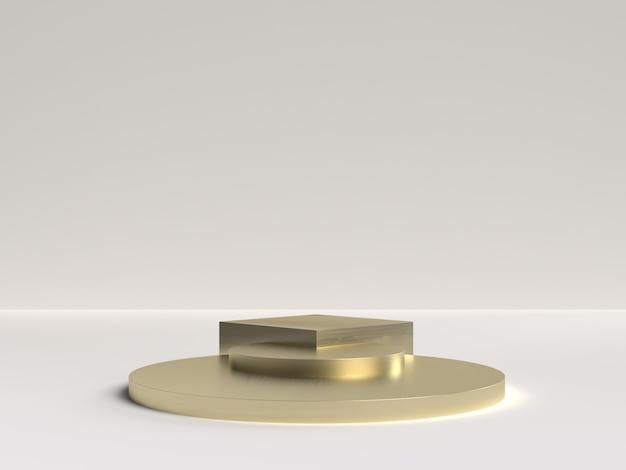 제품 표시를위한 추상 장면 기하학 모양 연단의 흰색과 금색 3d 렌더링