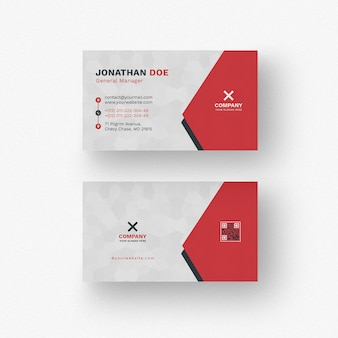 White and red business card mockup