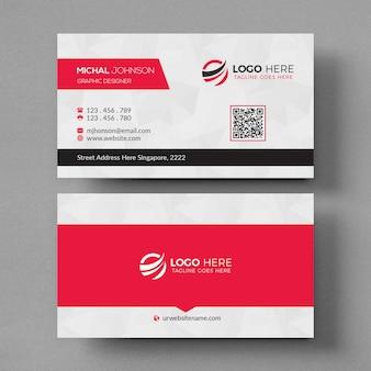 Белый и красный макет визитной карточки